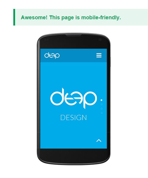 Deep Design Website Mobile Friendly Test Passed